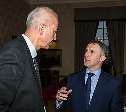 Pictured: Michael Matheson discussses volunteering with Volunteer Scotland's Chief Executive George Thomson.<br /> Today the Police Scotland's Youth Volunteer scheme was presented with 'Investing in Volunteers' award by Volunteer Scotland. Assistant Chief Constable John Hawkins, Justice Secretary Michael Matheson, and George Thomson (Chief Executive) from Volunteer Scotland were on hand for the ceremony.<br /> <br /> <br /> Ger Harley | EEm 13 December 2017