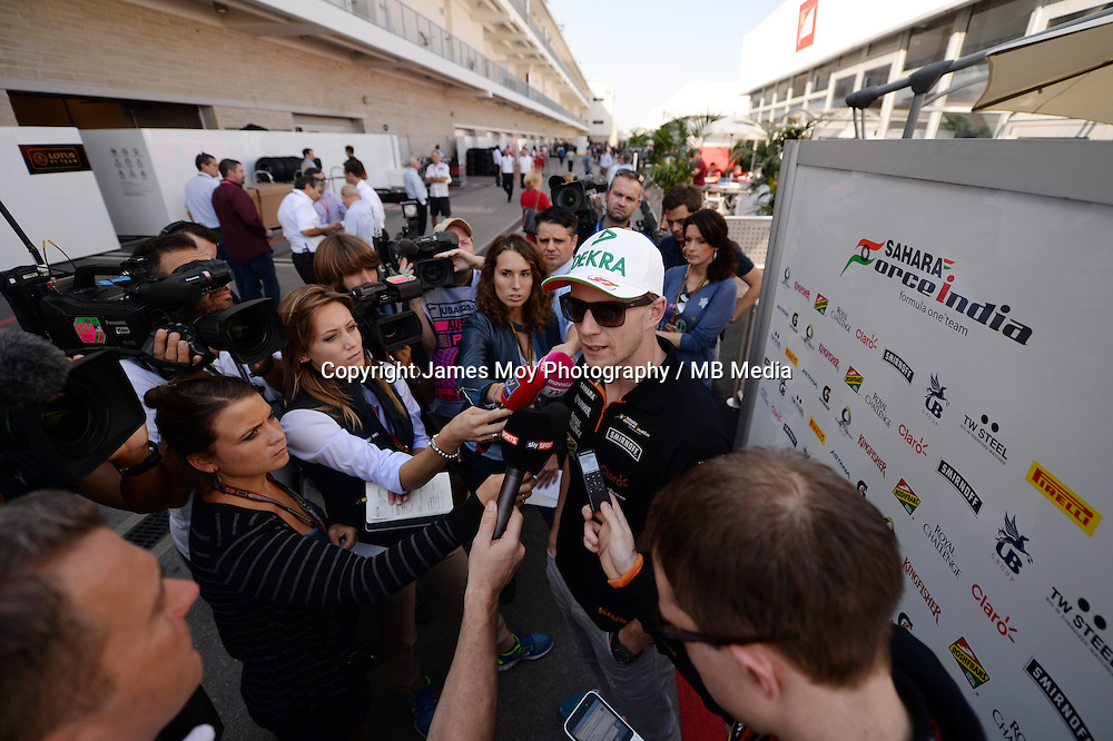 Nico Hulkenberg (GER) Sahara Force India F1 with the media.<br /> United States Grand Prix, Thursday 30th October 2014. Circuit of the Americas, Austin, Texas, USA.