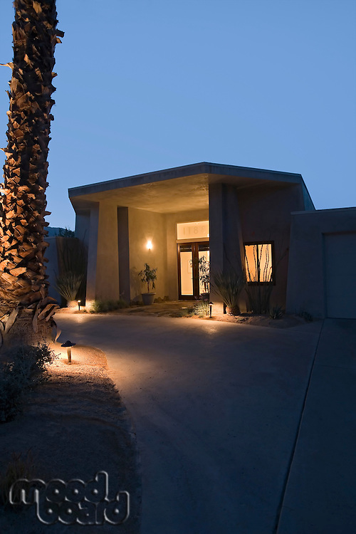 Illuminated exterior of modern residence
