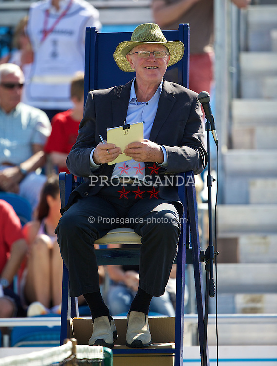 LIVERPOOL, ENGLAND - Saturday, June 21, 2014: An Umpire during Day Three of the Liverpool Hope University International Tennis Tournament at Liverpool Cricket Club. (Pic by David Rawcliffe/Propaganda)