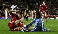 Photo: Paul Thomas/Sportsbeat Images.<br /> Liverpool v Besiktas. UEFA Champions League. 06/11/2007.<br /> <br /> Steven Gerrard (L) crashes into keeper Hakan Arikan of Besiktas.