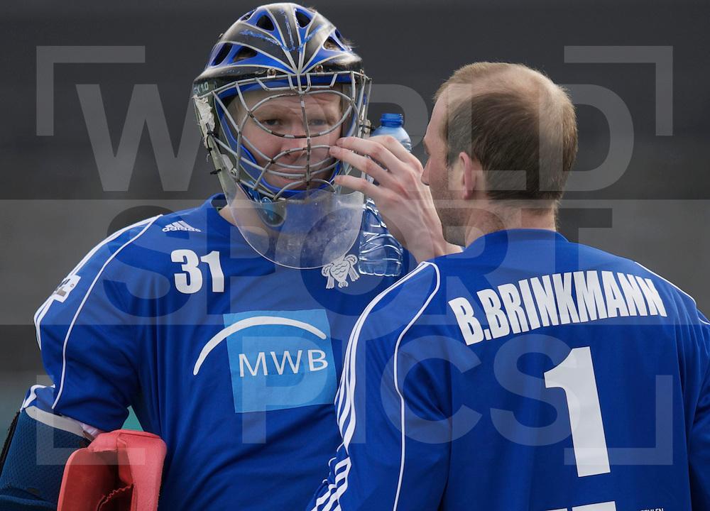 Amstelveen - Euro Hockey league KO16.HC Uhlenhorst Mulheim vs Glynhill Hotel Kelburne.foto: HC Uhlenhorst Mulheim goalies Felix Reuss (with Helmet) and Bjorn Brinkmann..FFU PRESS AGENCY COPYRIGHT FRANK UIJLENBROEK.