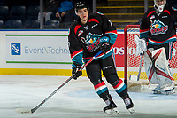 KELOWNA, CANADA - SEPTEMBER 22: Libor Zabransky #7 of the Kelowna Rockets warms up against the Kamloops Blazers on September 22, 2017 at Prospera Place in Kelowna, British Columbia, Canada.  (Photo by Marissa Baecker/Shoot the Breeze)  *** Local Caption ***