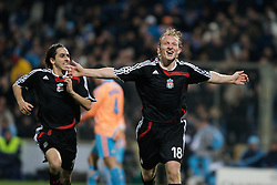 MARSEILLE, FRANCE - Tuesday, December 11, 2007: Liverpool's Dirk Kuyt celebrates scoring the third goal against Olympique de Marseille with team-mate Yossi Benayoun during the final UEFA Champions League Group A match at the Stade Velodrome. (Photo by David Rawcliffe/Propaganda)