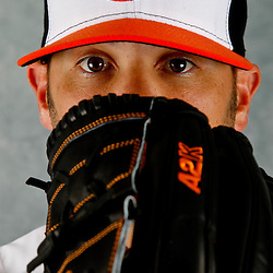March 1, 2012; Sarasota, FL, USA; Baltimore Orioles relief pitcher Zach Phillips (58) poses for a portrait during photo day at the spring training headquarters.  Mandatory Credit: Derick E. Hingle-US PRESSWIRE