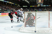 KELOWNA, CANADA - MARCH 9: Ty Edmonds #35 of Prince George Cougars makes a save against the Kelowna Rockets on March 9, 2016 at Prospera Place in Kelowna, British Columbia, Canada.  (Photo by Marissa Baecker/Shoot the Breeze)  *** Local Caption *** Tate Olson; Calvin Thurkauf; Ty Edmonds;