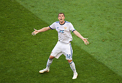 MOSCOW, RUSSIA - Sunday, July 1, 2018: Russia's Artem Dzyuba celebrates after scoring the equalising goal from a penalty kick, to level the score at 1-1, during the FIFA World Cup Russia 2018 Round of 16 match between Spain and Russia at the Luzhniki Stadium. (Pic by David Rawcliffe/Propaganda)