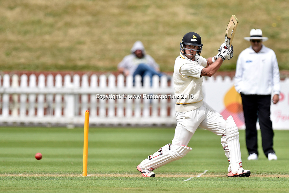 Luke Ronchi of the Firebirds bats during the Plunket Shield cricket match -between the Wellington Firebirds and Otago Volts on Thursday 17 December 2015 at the Basin Reserve, Wellington. Copyright Photo: Marty Melville  / www.photosport.nz