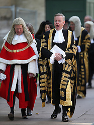 © Licensed to London News Pictures. 01/10/2015. London, UK. The Lord Chancellor and Secretary of State for Justice MICHAEL GOVE (R) walks with The Lord Chief Justice Baron Thomas of Cwmgiedd as they take part in the annual Judges Service at Westminster Abbey. The Service heralds the start of the legal year in the United Kingdom. Photo credit: Peter Macdiarmid/LNP