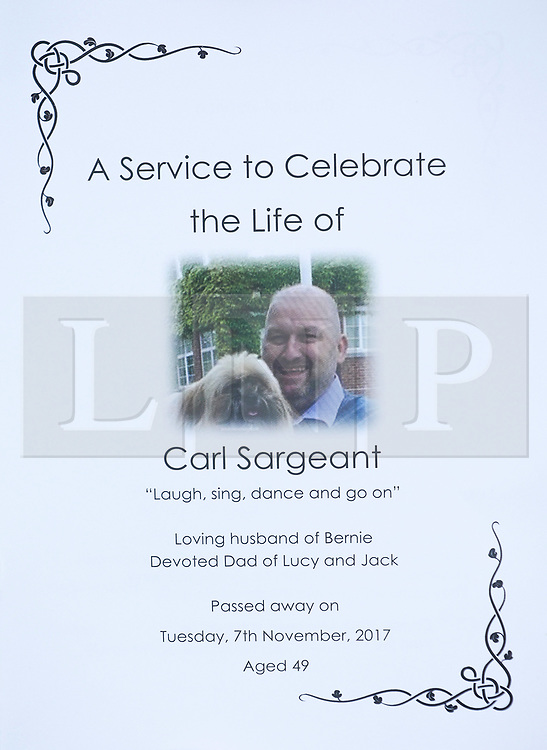 © Licensed to London News Pictures. 01/12/2017. Connah's Quay, UK. The order of service at the funeral of Carl Sargeant, who died four days after stepping down from his post in the Welsh Government after unspecified allegations of sexual harassment were made against him. He had denied the allegations. Photo credit: Joel Goodman/LNP