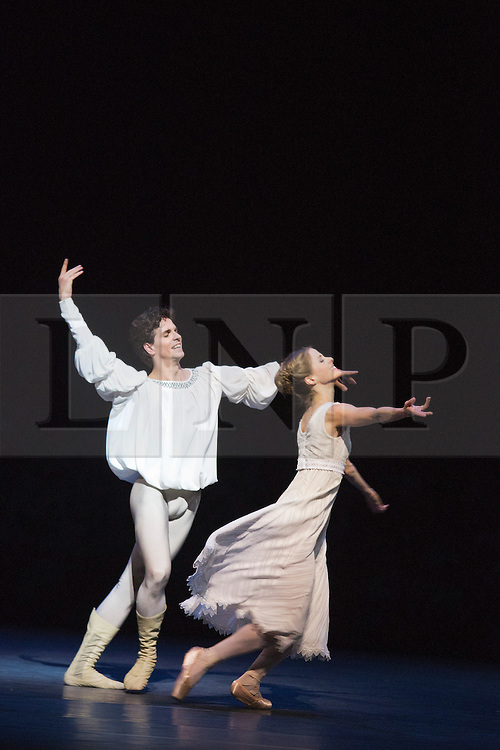 "© Licensed to London News Pictures. 17/04/2013. London, England. Picture: Heather Ogden as Juliet and Guillaume Côté as Romeo. Canada's premier dance company ""The National Ballet of Canada"" returns to London after 26 years with its new production of Romeo and Juliet, which was created in 2011 to mark the company's 60th anniversary. Choreographed by former Bolshoi Ballet director Alexei Ratmansky to Prokofiev's score with Heather Ogden as Juliet and Guillaume Côté as Romeo. Photo credit: Bettina Strenske/LNP"