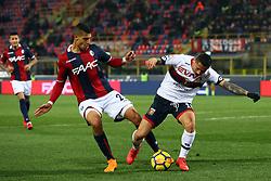 """Foto Filippo Rubin<br /> 24/02/2018 Bologna (Italia)<br /> Sport Calcio<br /> Bologna - Genoa - Campionato di calcio Serie A 2017/2018 - Stadio """"Renato Dall'Ara""""<br /> Nella foto: ADAM MASINA  (BOLOGNA) CONTRO GIANLUCA LAPADULA (GENOA)<br /> <br /> Photo by Filippo Rubin<br /> February 24, 2018 Bologna (Italy)<br /> Sport Soccer<br /> Bologna vs Genoa - Italian Football Championship League A 2017/2018 - """"Renato Dall'Ara"""" Stadium <br /> In the pic: ADAM MASINA  (BOLOGNA) VS GIANLUCA LAPADULA (GENOA)"""