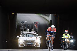 Lucinda Brand (Rabo Liv) is closing in fast on lone leader, Nikki Harris (Boels Dolmans) - 2016 Strade Bianche - Elite Women, a 121km road race from Siena to Piazza del Campo on March 5, 2016 in Tuscany, Italy.