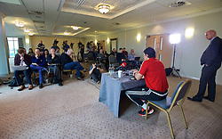 CARDIFF, WALES - Thursday, November 12, 2015: Wales' manager Chris Coleman faces the media during a press conference at the Vale of Glamorgan ahead of the International Friendly against the Netherlands. (Pic by David Rawcliffe/Propaganda)