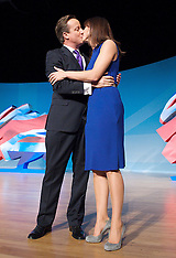 OCT 10 2012 David Cameron and wife Samantha at the end of his conference speech in Birmingham