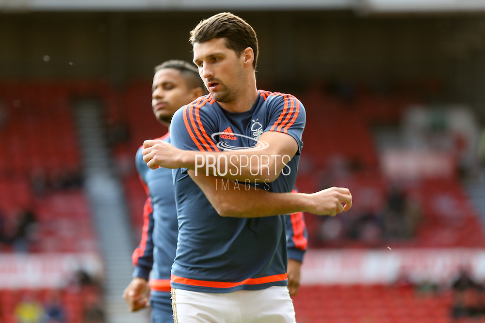 Nottingham Forest defender Eric Lichaj  during the The FA Cup fourth round match between Nottingham Forest and Watford at the City Ground, Nottingham, England on 30 January 2016. Photo by Simon Davies.