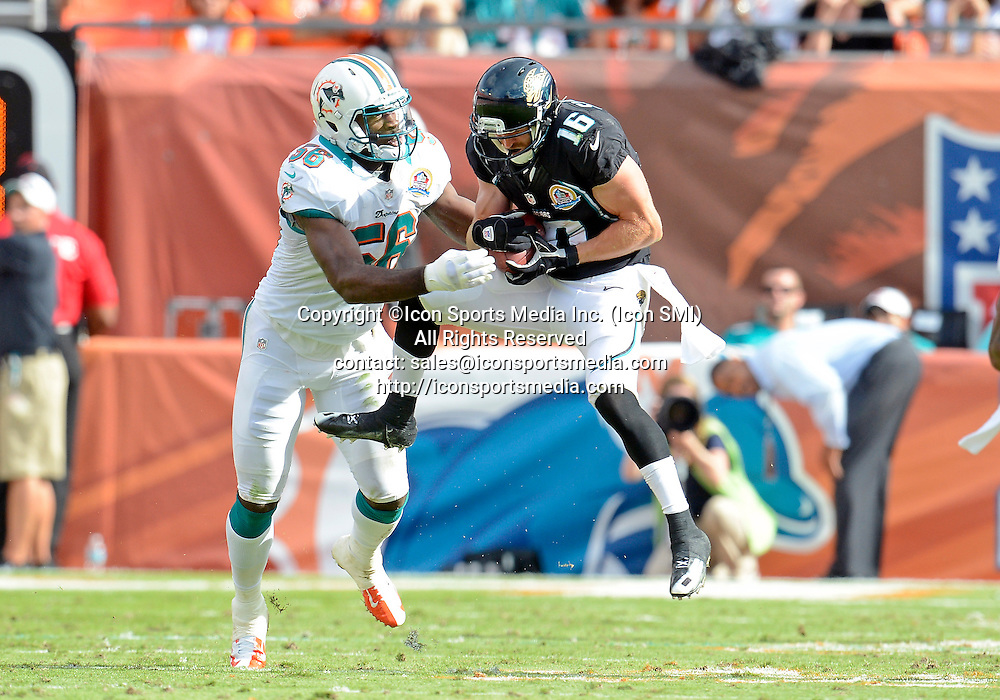16 December 2012: Jacksonville Jaguars wide receiver Jordan Shipley (16) catches a pass covered by Miami Dolphins linebacker Kevin Burnett (56) in Miami's 24-3 victory at Sun Life Stadium, Miami, Florida.