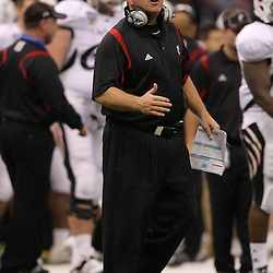 Jan 01, 2010; New Orleans, LA, USA; Cincinnati Bearcats interim head coach Jeff Quinn on the field during the 2010 Sugar Bowl at the Louisiana Superdome. Florida defeated Cincinnati 51-24.  Mandatory Credit: Derick E. Hingle-US PRESSWIRE.