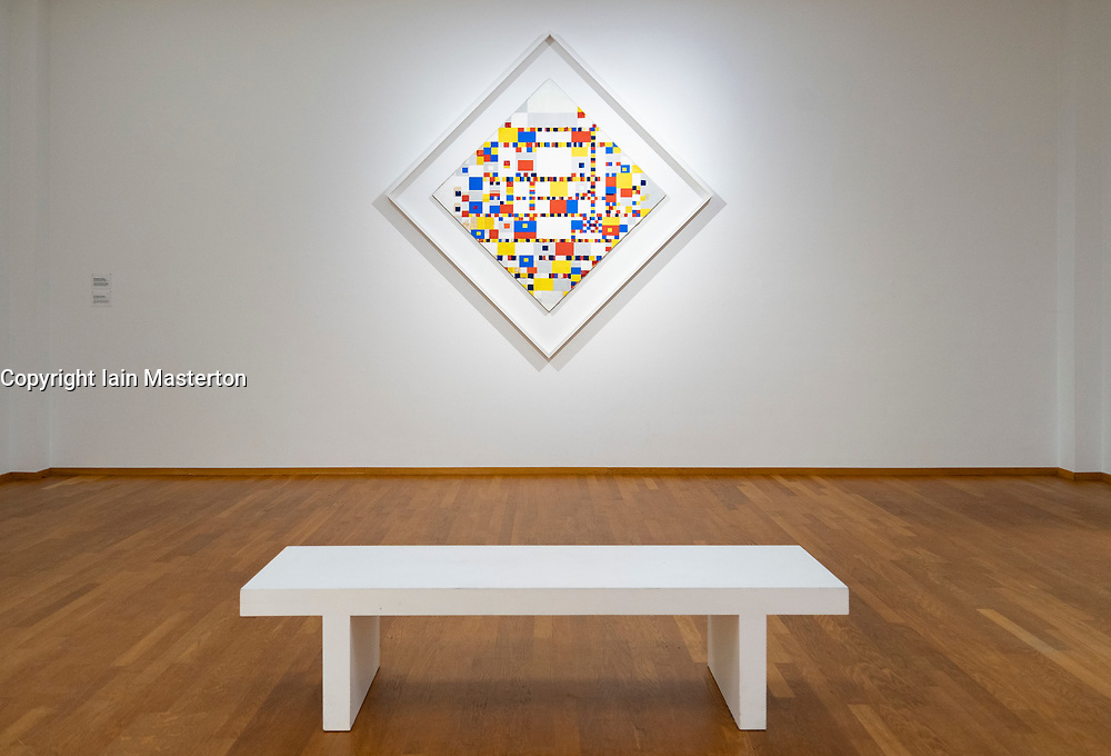 Painting Victory Boogie Woogie by PIET MONDRIAAN at the Gemeentemuseum in The Hague, Den Haag, The Netherlands
