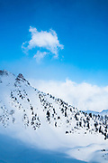 The clouds cleared for a short moment in the Purcell mountains of British Columbia