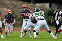 KELOWNA, BC - SEPTEMBER 22:  Alex Douglas #1 of Okanagan Sun receives the ball against the Valley Huskers at the Apple Bowl on September 22, 2019 in Kelowna, Canada. (Photo by Marissa Baecker/Shoot the Breeze)