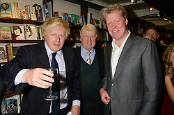 Left to right, BORIS JOHNSON, STANLEY JOHNSON and EARL SPENCER at a party to celebrate the publication of Stanley I Resume by Stanley Johnson at the Daunt Bookshop, Marylebone High Street, London on 23rd September 2014.