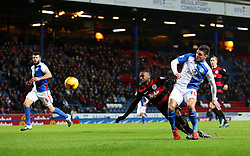 David Holiett of Queens Park Rangers has a shot blocked by Ben Marshall of Blackburn Rovers   - Mandatory byline: Matt McNulty/JMP - 12/01/2016 - FOOTBALL - Ewood Park - Blackburn, England - Blackburn Rovers v QPR - SkyBet Championship