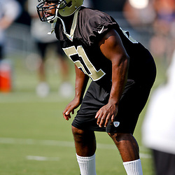 Jul 26, 2013; Metairie, LA, USA; New Orleans Saints linebacker Jonathan Vilma (51) during the first day of training camp at the team facility. Mandatory Credit: Derick E. Hingle-USA TODAY Sports