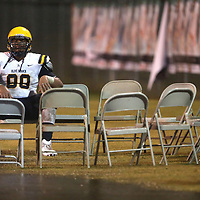 Olive Branch defensive tackle Walter Nolan takes a rest on the sideline after West Point goes up 14-0 early in the first quarter in the Class 5A North championship game Firday November 23. Olive Branch lost to West Point 35-0.