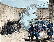 Paris Commune 26 March-28 May 1871. The Bloody Week:  Execution of hostages by the Commune. Mgr Darboy, Archbishop of Paris, and 5 other hostages shot  in the prison of la Roquette on the orders of Theophile Ferre, 24 May.