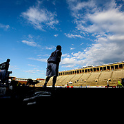 Miles Thompson #74 of the Rochester Rattlers warms up on the field prior to the game at Harvard Stadium on August 9, 2014 in Boston, Massachusetts. (Photo by Elan Kawesch)