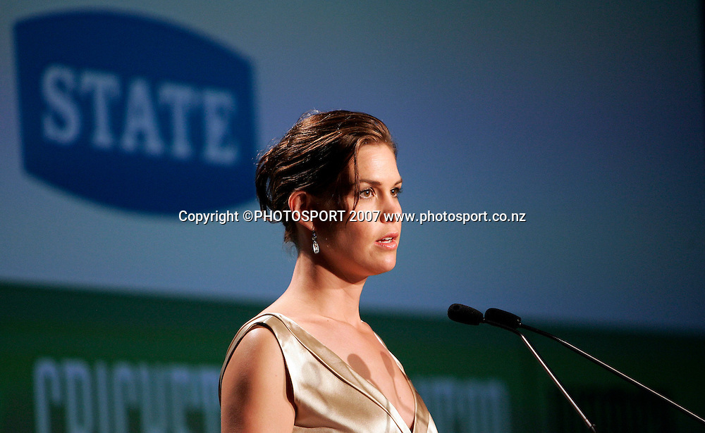 State's National Marketing and Communications Manager Jane Legge speaks during the NZ Cricket Awards at Langham Hotel, Auckland, New Zealand on Wednesday 16 May 2007. Photo: Hagen Hopkins/PHOTOSPORT<br /><br /><br /><br />160507