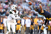 Ashtyn Davis (right) of the Golden Bears competes for the ball with Marcus Kemp of the Rainbow Warriors during the round 1 NCAA NFL match between the California Golden Bears and the Hawaii Rainbow Warriors at ANZ Stadium in Sydney, Australia.