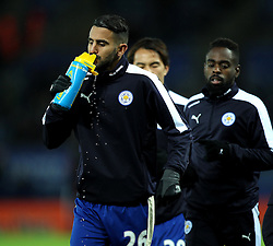 Riyad Mahrez of Leicester City has a drink during the warm up - Mandatory byline: Robbie Stephenson/JMP - 28/11/2015 - Football - King Power Stadium - Leicester, England - Leicester City v Manchester United - Barclays Premier League