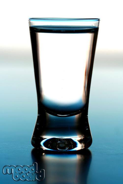 Studio shot of glass with vodka