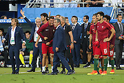 Portugal Forward Cristiano Ronaldo gets Portugal Manager Fernando Santos attention during the Euro 2016 final between Portugal and France at Stade de France, Saint-Denis, Paris, France on 10 July 2016. Photo by Phil Duncan.