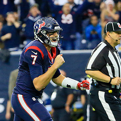 Nov 29, 2015; Houston, TX, USA; Houston Texans quarterback Brian Hoyer (7) celebrates after a touchdown against the New Orleans Saints during the third quarter of a game at NRG Stadium. The Texans defeated the Saints 24-6. Mandatory Credit: Derick E. Hingle-USA TODAY Sports