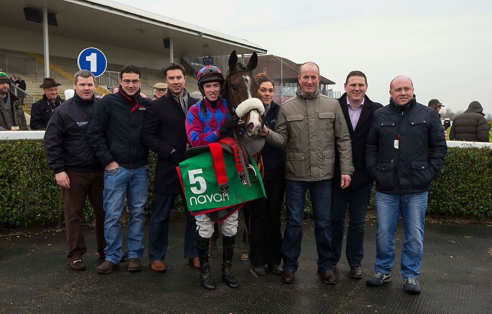 Navan Races, Saturday 27th February 2016.<br /> The Sideways syndicate from Moynalvey / Summerhill pictured in the parade ring after Gordon Elliott trained Jury Duty won the Garlow Cross Handicap Hurdle at Navan<br /> Photo: David Mullen /www.cyberimages.net / 2016