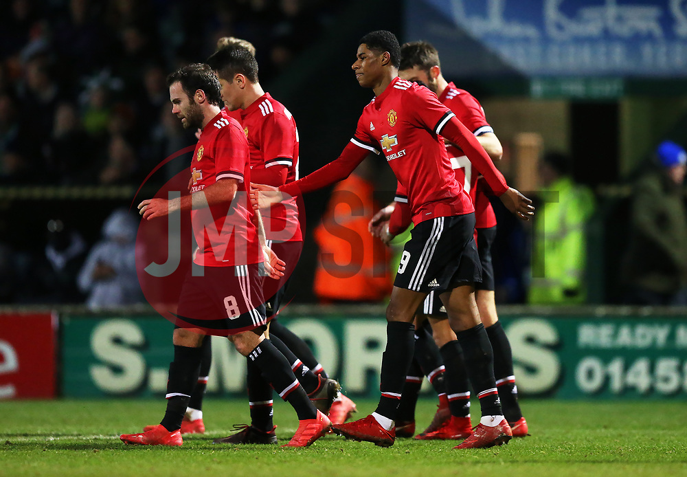 Marcus Rashford of Manchester United celebrates after scoring his sides first goal - Rogan/JMP - 26/01/2018 - FOOTBALL - Huish Park - Yeovil, England - Yeovil Town v Manchester United - FA Cup Fourth Round.
