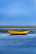 Lone dory on a overcast morning, Brewster, Cape Cod, Massachusetts, USA.