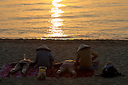 Phu Quoc Island. Long Beach (Bai Truong). Massage for guests of Tropicana resort at sunset.
