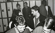 Paul Ryder speaks to a woman backstage at the Free Trade Hall in Manchester, 1989.