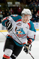 KELOWNA, CANADA, JANUARY 4: Cody Chikie #14 of the Kelowna Rockets skates on the ice as the Spokane Chiefs visit the Kelowna Rockets on January 4, 2012 at Prospera Place in Kelowna, British Columbia, Canada (Photo by Marissa Baecker/Getty Images) *** Local Caption ***