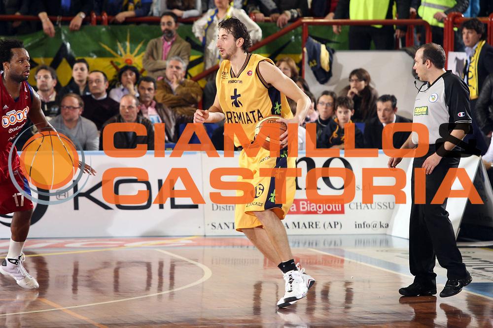 DESCRIZIONE : Porto San Giorgio Lega A 2008-09 Premiata Montegranaro Lottomatica Virtus Roma<br /> GIOCATORE : Simone Flamini<br /> SQUADRA : Premiata Montegranaro<br /> EVENTO : Campionato Lega A 2008-2009<br /> GARA : Premiata Montegranaro Lottomatica Virtus Roma<br /> DATA : 19/04/2009<br /> CATEGORIA : Palleggio<br /> SPORT : Pallacanestro<br /> AUTORE : Agenzia Ciamillo-Castoria/G.Ciamillo