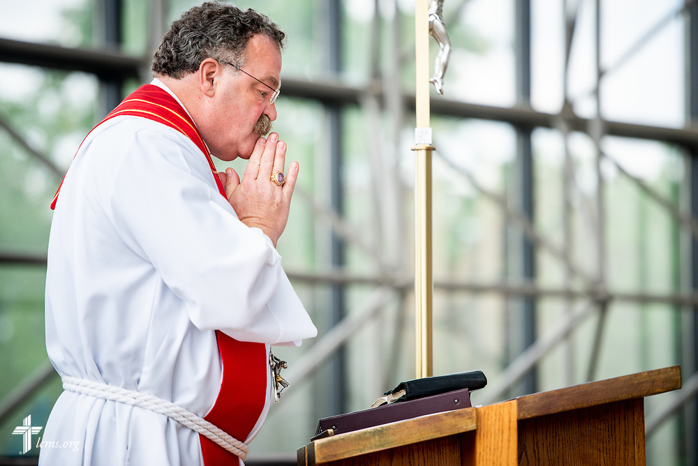 The Rev. Dr. Matthew C. Harrison, president of the LCMS, prays before preaching during a Service of Installation for the Rev. Robert Zagore, executive director in the LCMS Office of National Mission, in the chapel of the International Center of The Lutheran Church–Missouri Synod on Wednesday, May 30, 2018, in St. Louis. LCMS Communications/Erik M. Lunsford