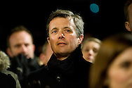 16.02.2015. Copenhagen, Denmark.<br /> Crown Prince Frederik was among those who attended a memorial rally for the victims and those injured in the attacks respectively Krudtt&oslash;nden and synagogue in Copenhagen.<br /> Photo: &copy; Ricardo Ramirez