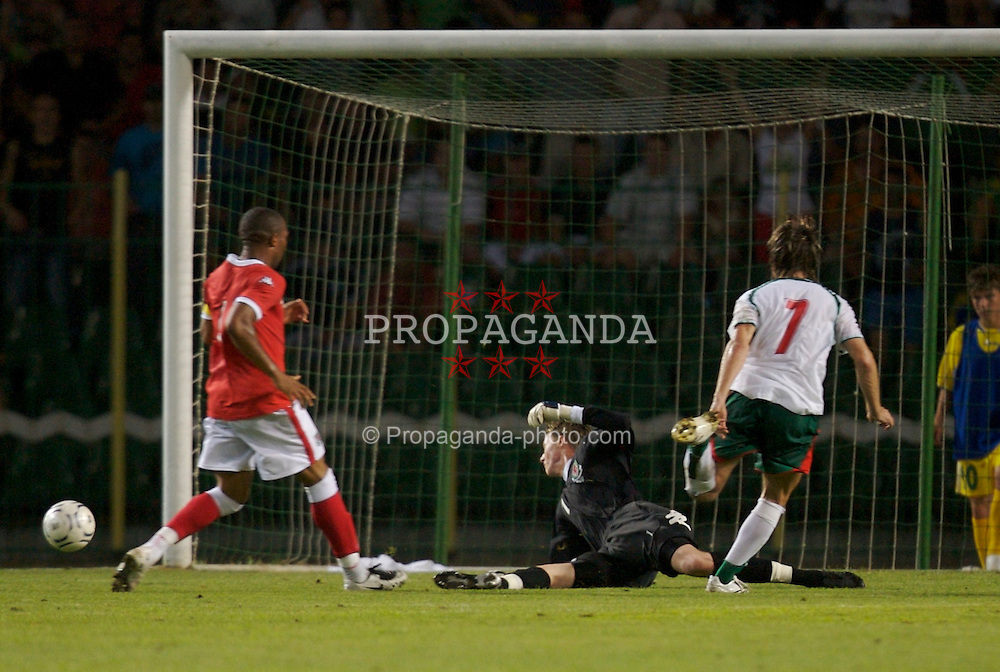 Bourgas, Bulgaria - Wednesday, August 22, 2007: Wales' goalkeeper Wayne Hennessey saves from Bulgaria's Velizar Dimitrov during the International Friendly match at the Naftex Stadium. (Photo by David Rawcliffe/Propaganda)