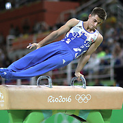 Gymnastics - Olympics: Day 9   Max Whitlock #138 of Great Britain performs his routine in the Men's Pommel Horse Final which won him the gold medal at the Rio Olympic Arena on August 14, 2016 in Rio de Janeiro, Brazil. (Photo by Tim Clayton/Corbis via Getty Images)