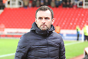 Stoke City manager Nathan Jones during the The FA Cup 3rd round replay match between Stoke City and Shrewsbury Town at the Bet365 Stadium, Stoke-on-Trent, England on 15 January 2019.