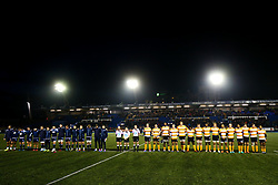 Guinness PRO14, Cardiff Arms Park, Cardiff, UK 9/11/2019<br /> Cardiff Blues vs Toyota Cheetahs<br /> Act of Remembrance before kick off.<br /> Mandatory Credit ©JMP/Rogan Thomson
